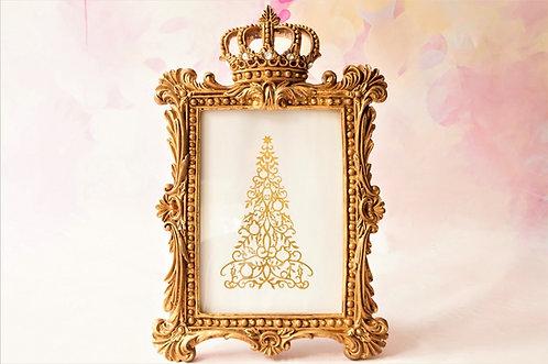 Majestätischer Stehrahmen für Bilder und Fotos  mit Krone  – Höhe ca. 29 cm