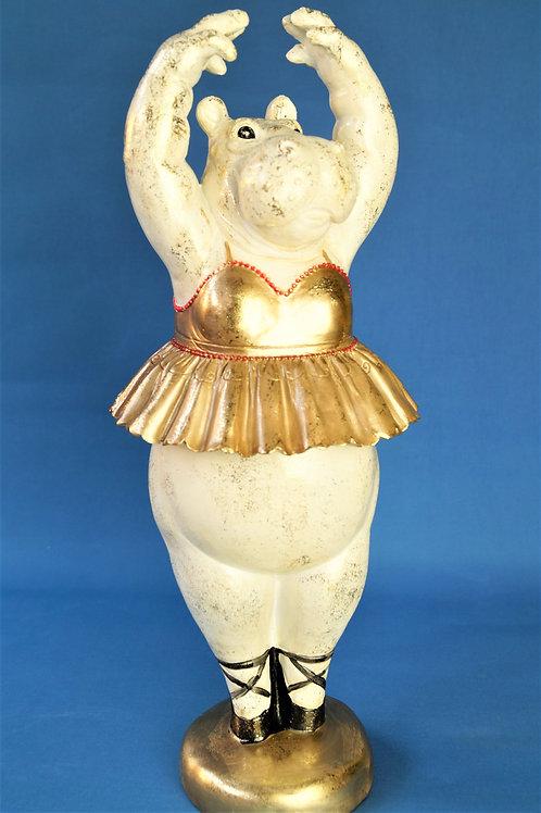 BESONDERS! Große, tanzende Nilpferd-Ballerina aus Kunstharz – Höhe ca. 46 cm!
