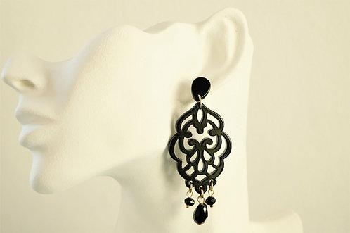 Acryl-Kunst vom Feinsten - schwarze Ornament Ohrringe