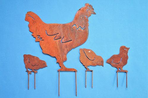 Erdspieße aus Edelrost - Henne + 3 Küken im Set