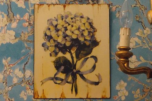 Angesagtes Metallschild mit Hortensien  –  25 x 20 cm