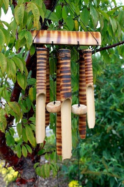 6 Stäbe & HANDGEFERTIGT!!! Windspiel aus nachhaltigem Bambus!