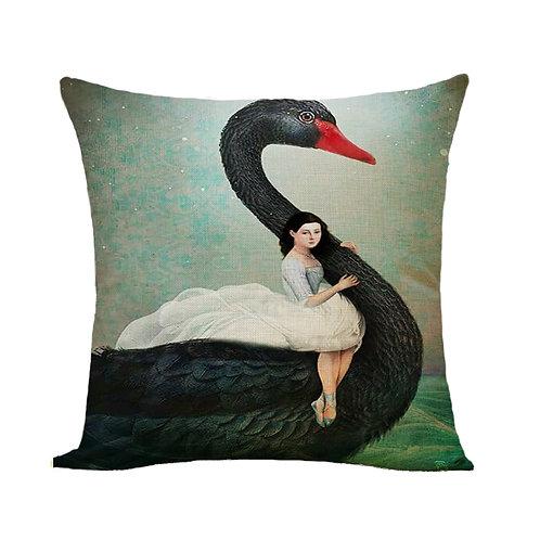 Polster / Kissen im extravaganten Design – Ballerina am Schwan – 45 x 45 cm