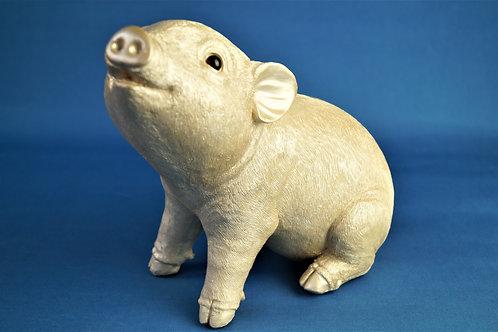 ENTZÜCKEND! Niedliches Sparschwein aus Kunstharz im hellen Roségold-Silber