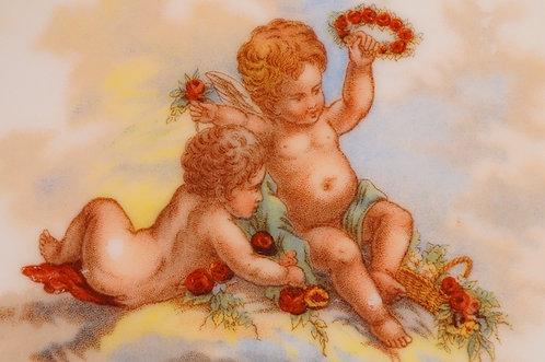 Alter, entzückender Teller mit Engeln / Puttis