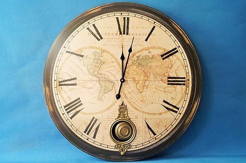 Riesenwanduhr mit Pendel mit Weltkarten im Vintagestil – DM 58 cm