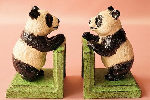 Pandabären als Buchstützen aus Eisen - WUNDERSCHÖN & HANDBEMALT!