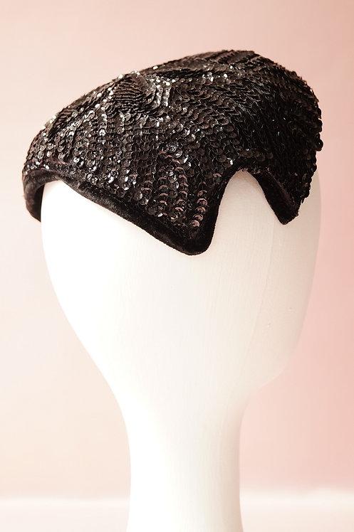Wunderbares, sehr elegantes Headpiece aus den 50er/60er – schwarze Pailletten