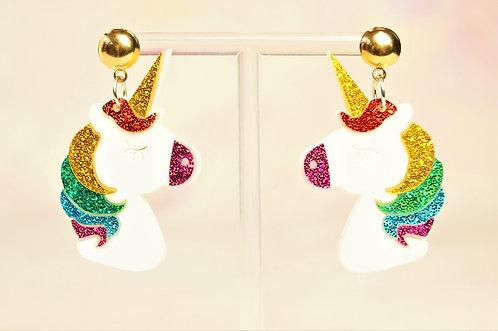 Acryl-Kunst vom Feinsten - Einhorn Ohrringe