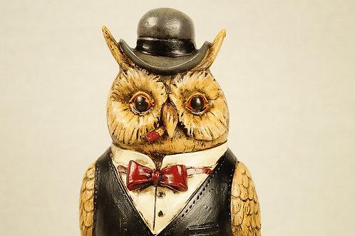 Herr Eule mit Zigarre und Taschenuhr aus Kunstharz – ca. 24 cm