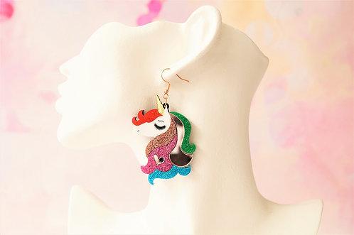 Acryl-Kunst vom Feinsten - glitzer Einhorn Ohrringe