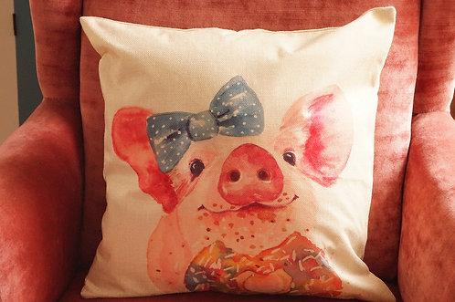 Polster / Kissen im verspielt kultigen Design – Schwein mit Masche – 45