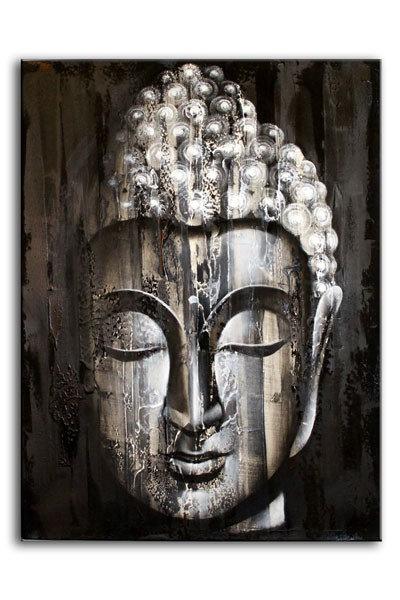 Originales, GROSSES Ölbild aus Bali! Buddha grau / silber – ca. 60 x 80 cm