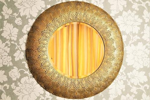 ORIENTAL-CHIC! Genialer, runder, geschliffener Spiegel mit traumhaftem Rahmen –