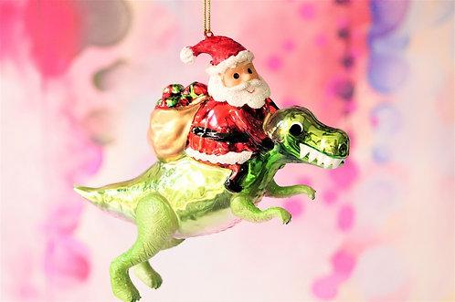 Genialer Weihnachtsmann am Dino.  - genialer Christbaumschmuck