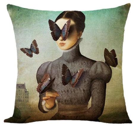 Polster / Kissen im extravaganten Design – Frau mit Schmetterlingen – 45 x 45 cm