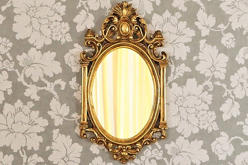 Eleganter Spiegel mit Wappenflamme im Barock-Design mit toller Ornamentik