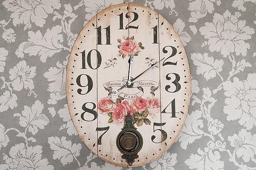RIESIG! NOSTALIE PUR   Romantische Pendeluhr mit Quarzwerk – 45,5 x 60 cm