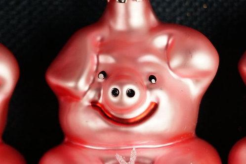 Mundgeblasener, handbemalter LAUSCHA Baumschmuck – Glücksschwein - Höhe ca. 9 cm