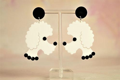 Acryl-Kunst vom Feinsten - Pudel Ohrringe