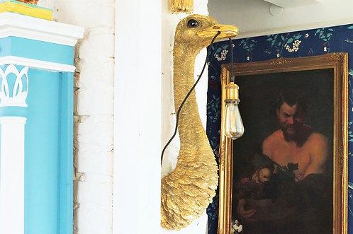 Design pur! Geniale Vogel-Strauss Wandlampe – Höhe 72 cm