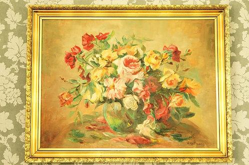 Großes, altes Gemälde mit edlem Rosenmotiv  von J. Hethner / Bild