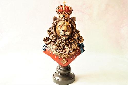 Herrschaftliche, handbemalte Löwenkönig-Büste aus Kunstharz – Höhe ca. 37 cm