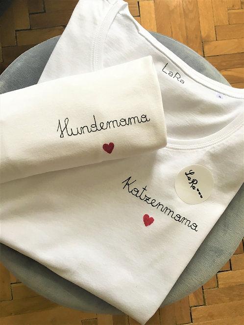 """Statement-Shirt """"Hunde- oder Katzenmama"""" in allen Größen"""