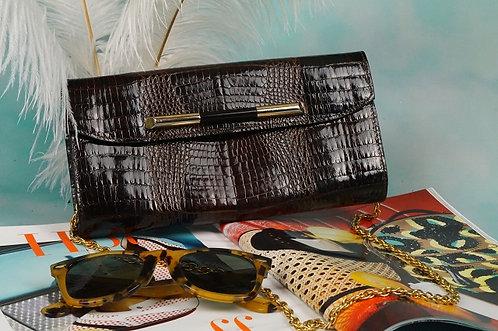 VINTAGE CLUTCH / Kettentasche + Geldbörsel in Kroko