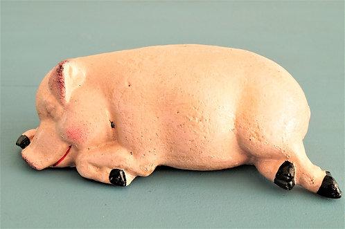 Schlafendes Schwein - entzückende Sparkasse aus Gusseisen