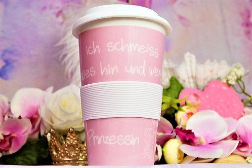 Coffee 2 Go aus Porzellan XL 400ml – ICH SCHMEISS ALLES HIN UND WERD PRINZESSIN