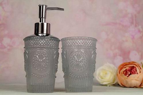Romantisches Badezimmer-Set aus Glas - Ø 7*18/Ø 7*11