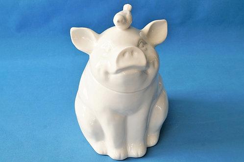 Zauberhafte Aufbewahrung! Schweinderldose mit Vogel aus Keramik