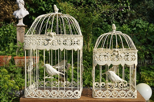 4-eckig! Romantischer Vogelkäfig im tollen Design! Weiß! 2 Größen!