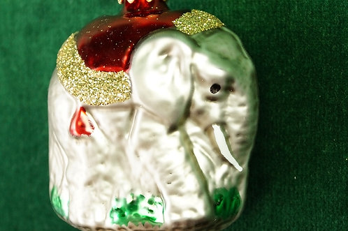 Mundgeblasener, handbemalter LAUSCHA Christbaumschmuck – Elefant ca. 6 cm
