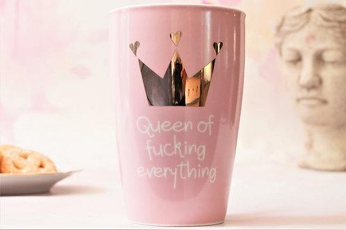 """Queen of fucking everything"" - Kaffeebecher mit Golddruck 450 ml"