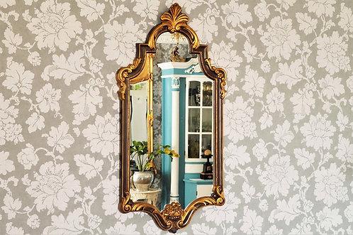 Spiegel im Rokokostil mit Flamme und Blumenkorb braun-gold