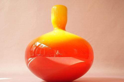 Mundgeblasene, große Mid-Century Vase Glas Kunst gelb orange rot