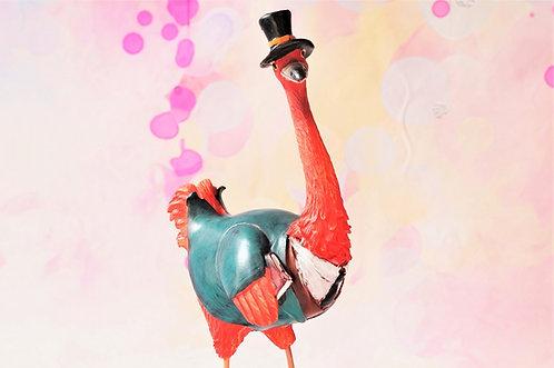 Très, très Chic! Handbemalter Flamingo im Frack – Höhe ca. 29 cm