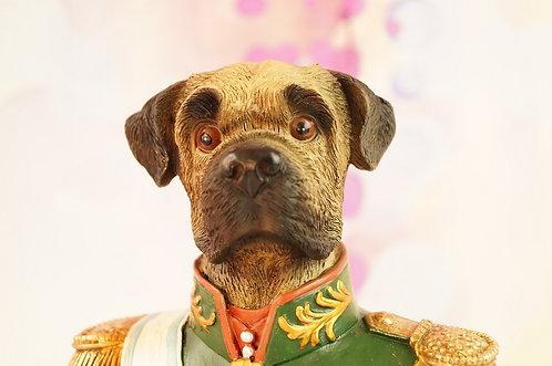Figur - gediegene Hundebüste mit Orden im Vintagelook