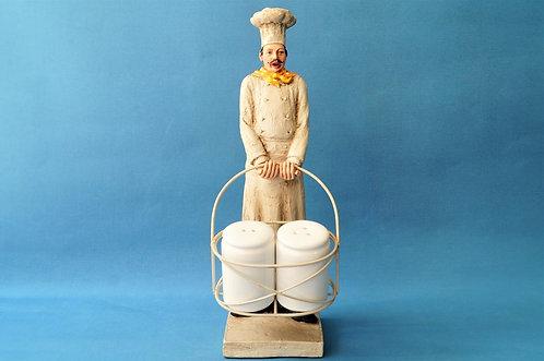 Handbemalter Koch mit Salz und Pfeffer im Vintage-Look - Höhe ca. 33 cm