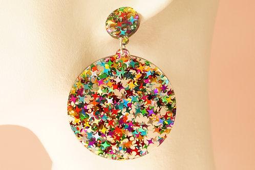 Statement-Ohrring aus Acryl mit Glittersternen – ca. 7 cm lang