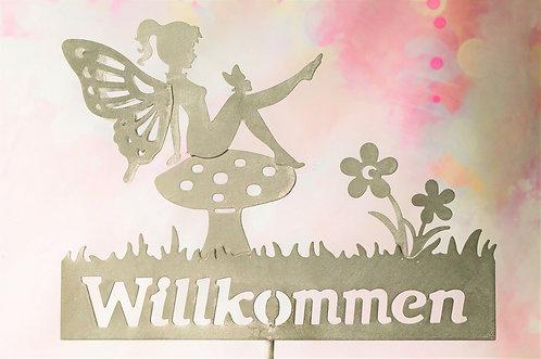 Gartenstecker aus Metall - WILLKOMMEN mit Elfe – 100 x 29 cm