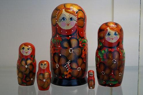 Alte Matroschka - 5 Puppen