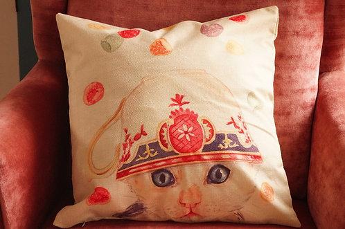 Polster / Kissen im verspielt kultigen Design – Kätzchen mit Tasse – 4