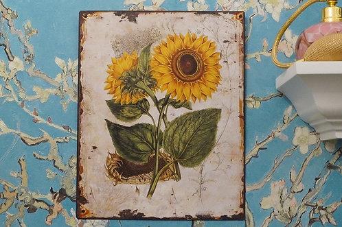 Angesagtes Metallschild mit Sonnenblumen  –  25 x 20 cm