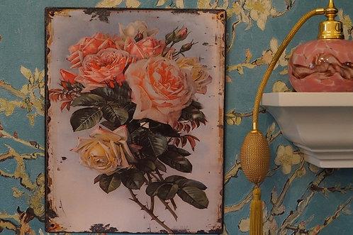 Angesagtes Metallschild mit Rosen  –  25 x 20 cm