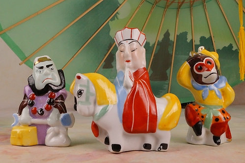 MIDCENTURY ASIATIKA! Alte, originale Figurengruppe – HANDBEMALT