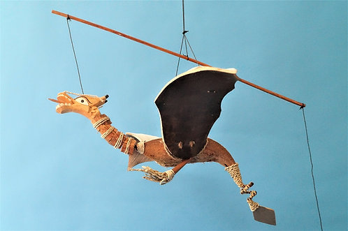 Handgemachte Drachenfigur aus Kokosholz – ca. 50 cm breit