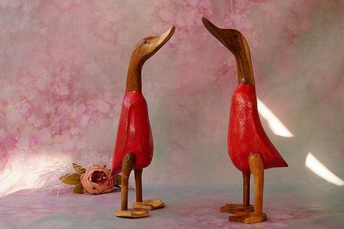 Geschnitzte Enten aus Bambuswurzelholz – ein toller Blickfang!
